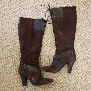 Cole Haan Suede Leather Laceup Steampunk Boots 8.5